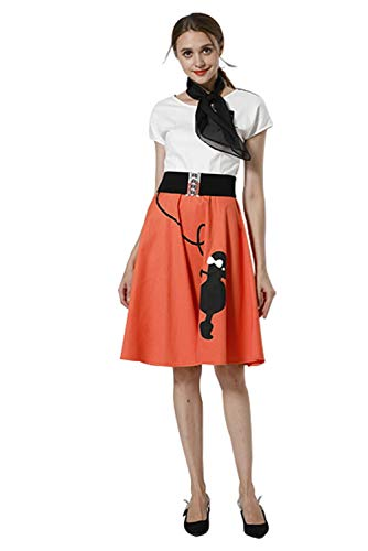 Karnestore Vintage 50er Jahre Rockabilly Kleid Kurzarm Retro Swing Elegantes Abendkleid Orange (Pudel Rock Kostüm Frauen)