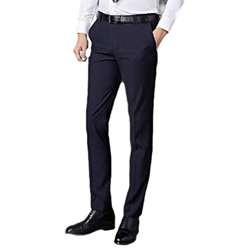 CuteRose Men Classic Tapered Easy Care Business with Pockets Plain-Front Pant Navy Blue 30 Classic Pleated Chino-khaki