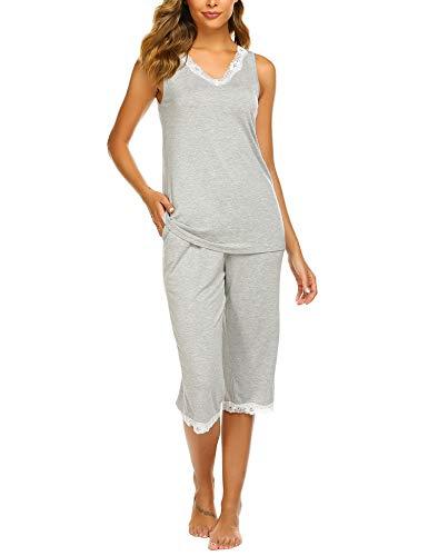Balancora Damen Einfarbige Schlafanzug Pyjama Set, Zweiteiliger Modal Kurzarm Nachtwäsche Nachthemd Hausanzug S-XXL (Damen Modal Pyjama-sets)