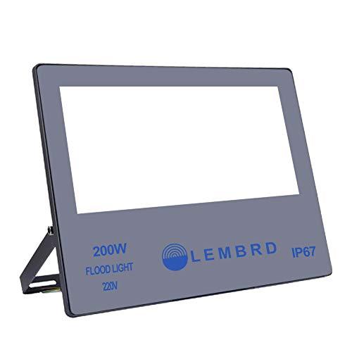 LTPAG Focos de Exterior, 200W 20000LM Ultrafino Foco LED Proyector Portátil, Lámpara Floodlight Brillo Alto para Iluminación de Seguridad, 6000K Blanco frío, P65 Impermeable, Garantía de 2 años