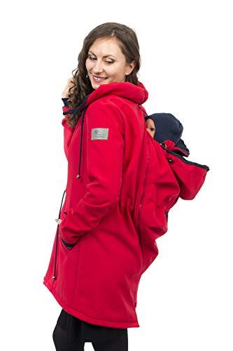 Viva la Mama - Babytrage Jacke Rücken und Bauch, Umstandsjacke mit Babyeinsatz Umstandsmode Jacke PINA rot - XL
