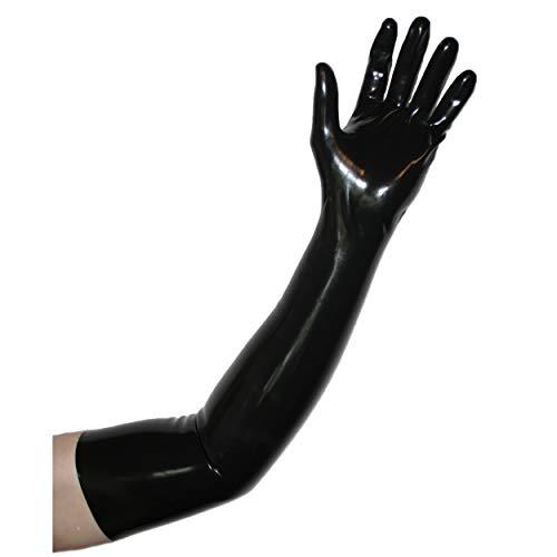 Rubberfashion sehr lange Latex Handschuhe extra dick, Latexhandschuhe zum Oberarm nicht chloriert für Frauen und Herren Menge: 1 Paar schwarz ()