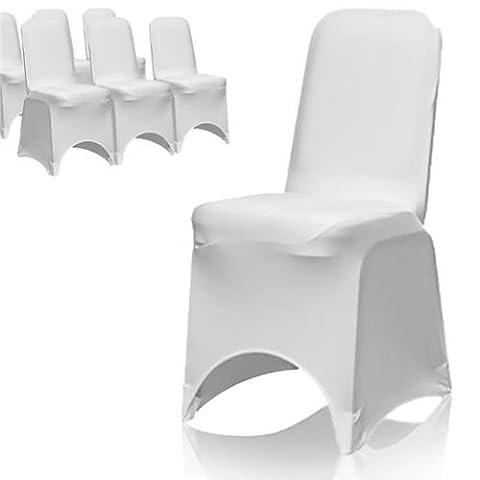Housse de chaise Blanc en Lycra Spandex pour mariage Banquet fête d'anniversaire événements salle à manger élastique Arcade avant par Trimming Shop, Tissu, blanc, Pack of 50
