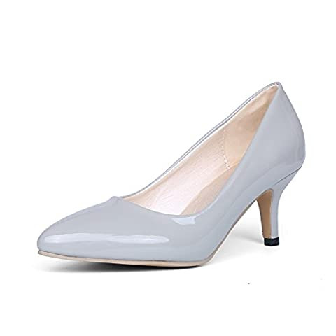 BalaMasa Womens Pointed-Toe Pull-On Slip-Resistant Gray Patent-Leather Pumps-Shoes - 3.5 UK