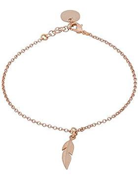 Tom Shot Damen Armband mit kleiner Feder in rosé Vergoldung 16-17,5 cm - 72ab0311r