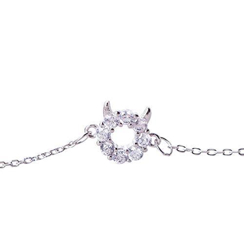Dixinla Armband,925 Silber Zirkon handgesetzten Diamanten Kleiner Dämon weibliche Mädchens großes Geschenk