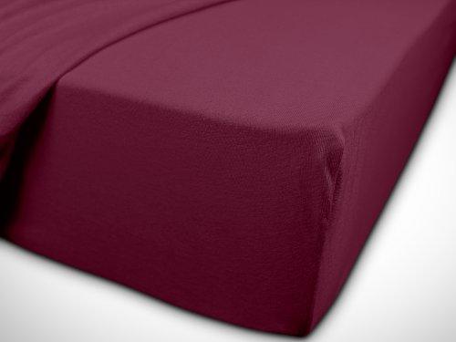 npluseins klassisches Jersey Spannbetttuch - erhältlich in 34 modernen Farben und 6 verschiedenen Größen - 100% Baumwolle, 70 x 140 cm, pflaume - 7