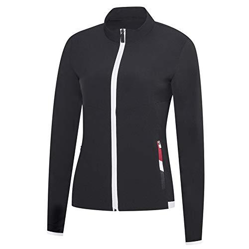 AFDLT Draussen Casual Baseball T-Shirts,Frauen Golf Jersey,Badminton Sport Long Sleeve,Tennis Wettbewerb Ausbildung Polo Hemd,Black,L