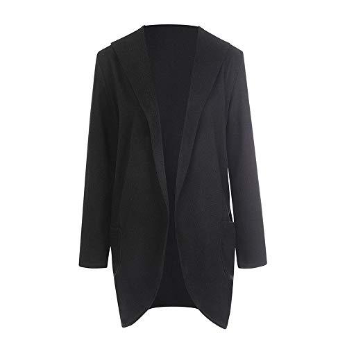 (BHYDRY Frauen Woolen mit Kapuze dünnen Mantel lose Damen Casual Hoodies Jacke Mantel Top(EU-40/CN-XL,Schwarz))
