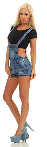 Fashion4Young Damen Latzhose Hotpants Jeans Shorts kurze Hose Jeanslatzhose Latzshorts Slimline 10995-blau