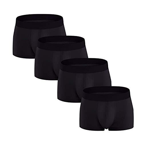 Herren Boxershorts Unterwäsche Unterhosen Baumwolle Männer Retroshorts Klassischen Grundfarben Locker & Weiche Basic, Schwarz-4pcs, Gr. L
