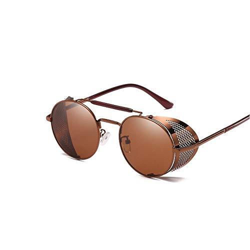 GRAZJ Retro Steampunk Sonnenbrillen für Herren und Damen Runde Designer-Sonnenbrillen Classic Oversized (Ausgabe : Style D)