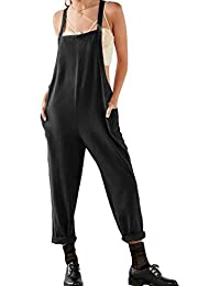 Hibote Frauen Sommer Baumwolle Leinen Latzhose Jumpsuits Sleeveless Lose  Oversize Tunika Kleid Plus Size Playsuits mit 02c3f95c65
