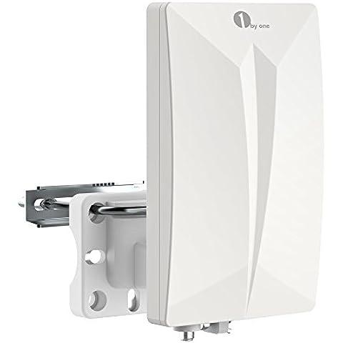 1byone Antena digital de interior y exterior de televisión para HD / receptor DVB-T, VHF / UHF / FM, TDT y canales de televisión analógicos, con tecnología de circuitos SMD, recubrimiento antivioleta, resistente al agua y diseño compacto