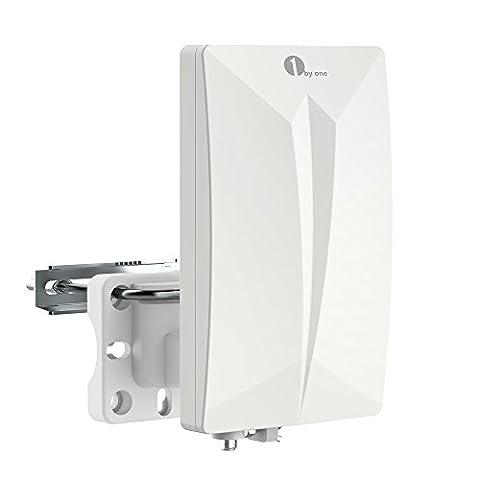 1byone Zimmerantenne/ Außenantenne für HDTV/ DVB-T/ DVB-T2 Fernsehen/ Receiver, VHF / UHF / FM, Anti-UV-Beschichtung,Wasserdichtes und Bündiges Design