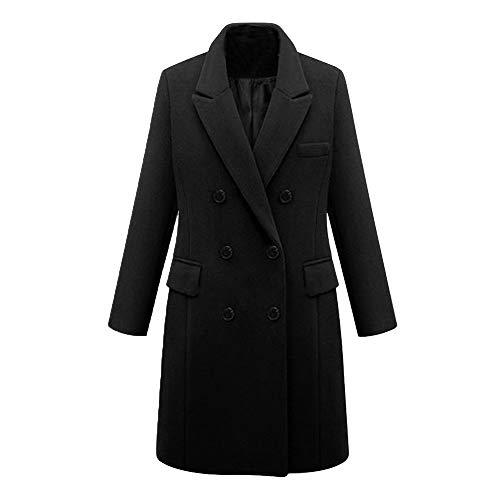 kolila Damen Wollmantel Eleganter Revers Zweireiher Cardigan Jacke Mittel Lang Outerwear Oberbekleidung Mantel - Blau Tutu M&m Teen Kostüm