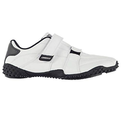 Lonsdale Herren Fulham Turnschuhe Klettverschluss Weiß/Marineblau 43 Ankle Strap Sneakers