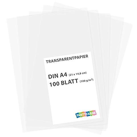 100 feuilles de papier transparent caractères DIN A4 100 g/m²