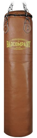 Profi Retro Leder Boxsack braun 120 x 35cm gefüllt inkl. Heavy Duty Vierpunkt-Stahlkette