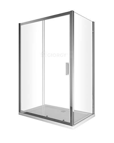 Box cabina doccia 2 lati cristallo fisso 70 75 80 90 cm + porta scorrevole 100 110 120 130 140 150 160 170 cristallo 6 mm anticalcare profilo cromo montaggio reversibile (67,5-70 x 165-170)