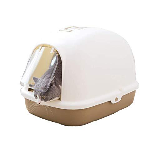 Cat Flip Litter Tray Brown Litter Box Hooded Pan Toilet Charcoal Filter Deep (Size : S(38 * 49.5 * 39.1cm))