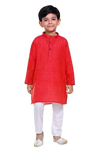 Littly Handloom Ethnic Wear Kids Embroidered Cotton Kurta Pyjama Set For Baby...