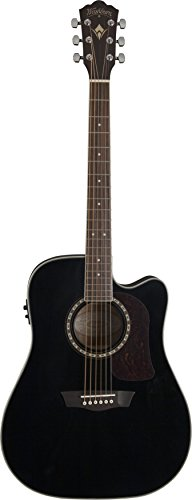 Washburn HD10SCEB - Chitarra acustica Heritage 10, colore: Nero lucido
