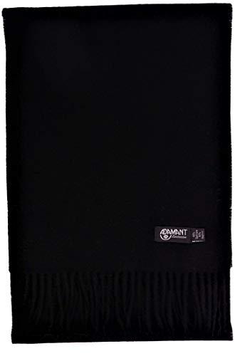 ADAMANT 100% Kaschmir Herren Schal in Verschiedenen Farben l 180cm x 28cm, Schwarz, 180cm lang x 28 cm breit