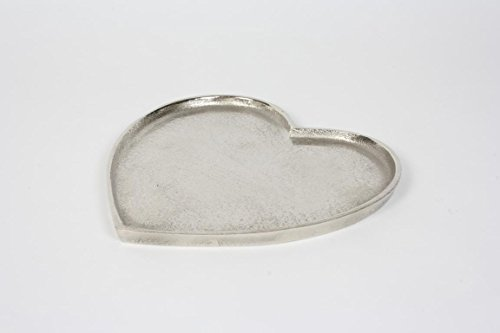 Herzteller Aluminium Rohsilberoptik 23x24 cm Geschenk Deko
