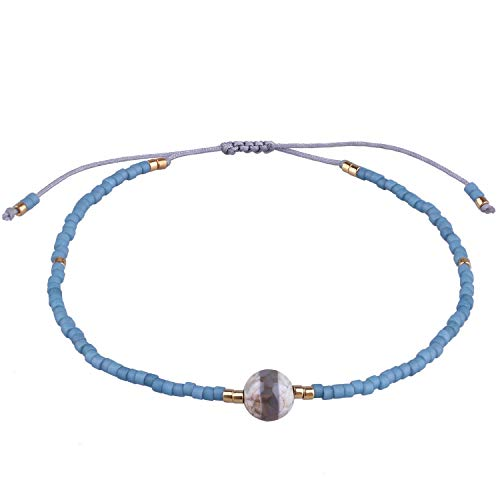 KELITCH Damen Armbänder für Frauen Herren Japanische Import Perle Schön Achat Geflochtene Freundschaft Charme Armband Handgemachte Verstellbare Seil Armreif (Hellblau)