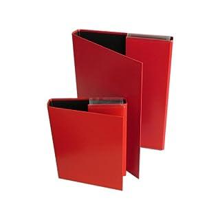 Aulfes - 2 Heftboxen, A4 und A5, rot, beschichtet