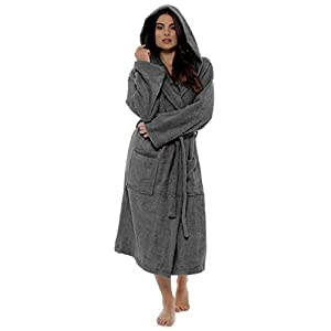 CityComfort Damen Robe Luxus Terry Frottee Baumwolle Bademantel Bademantel hoch saugfähige Frauen mit Kapuze und Schal Handtuch Bad Wickeln (M, Kohlengrau)