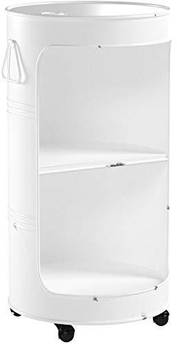 Livitat® Minibar Hausbar Regaltonne Ölfass H80 cm Industrie Look Loft Vintage LV5025 (Weiß)