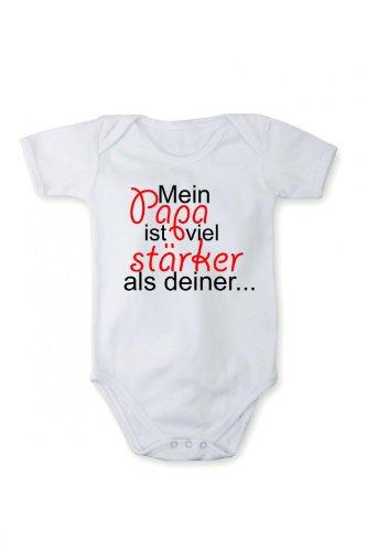Fabio Farini Barboteuse Mon papa est bien plus fort que le tien dans différents langues, Taille:12 mois;Couleur/langue:blanc texte allemand
