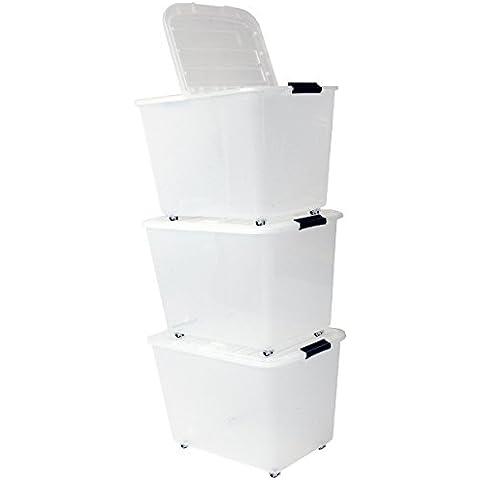 Iris 101.288,0 Set de 3 cajas con tiendas y ruedas, 60 L, Sistema de Orden, la cama, apilables, caja de plástico, TBRH-60,