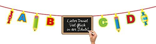 Wimpelkette / Schulanfang-Girlande / Länge ca. 4m + 10 Deko Schultüten 12cm - 2