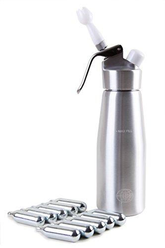 ICO ICO001FN10 Sahnesyphon für warme und Kalte Sahne, 500 ml, inklusive 10 Sahnekapseln, Aluminium, silber, 10 x 10 x 32.5 cm
