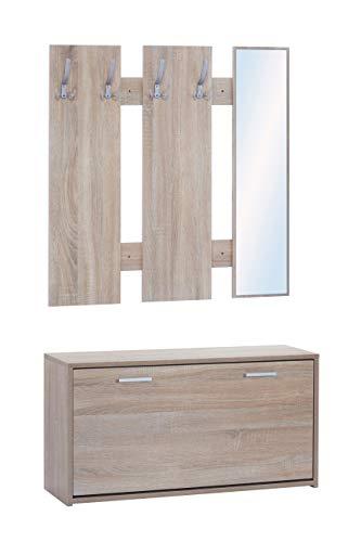 ts-ideen Set da Ingresso Scarpiera Salvaspazio Appendiabiti Specchio in Rovere Sonoma stile moderno anta basculante con due comparti interni