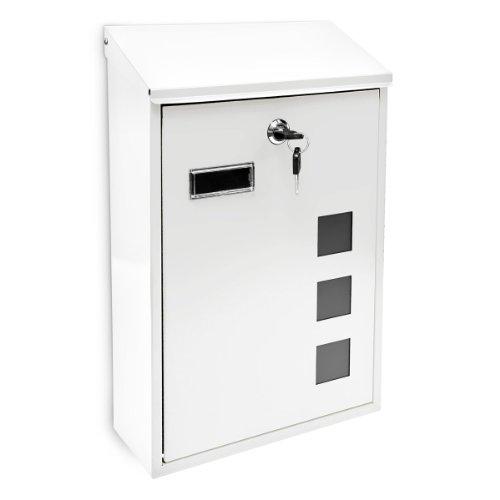 Design Briefkasten aus Metall 25x40 cm Weiß