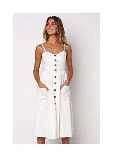 RBHSG Button Striped Print Cotton Linen Casual Summer Dress Sexy Strap V-Neck Off Shoulder Women Midi Dress Vestidos Beige S - Short Sleeve Striped Khaki