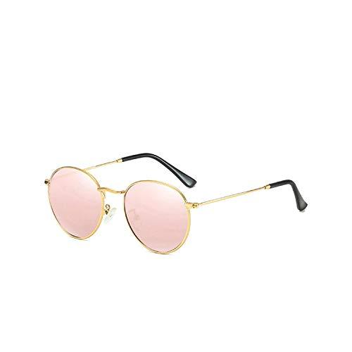 Sport-Sonnenbrillen, Vintage Sonnenbrillen, Classic Retro Polarized Sunglasses Männer's Round Frame Rock Punk Party Sun Glasses Male Color Film Small Size Glasses UV400 Gold Pink