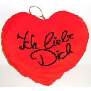 Plüschkissen in Herz-Form Plüschherz Herzkissen Herz XL 40 cm Rot Ich liebe Dich