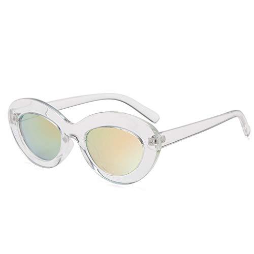 QDE Sonnenbrillen Frauen Oval Sonnenbrille Vintage Cute Pink Sunglass Elegante Dicken Rahmen Runde Sonnenbrille Uv400, Klarer Rahmen Rosa