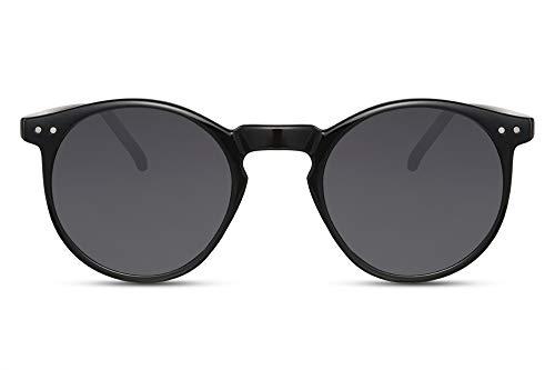 Cheapass Sonnenbrille Rund-e Schwarz Glänzend UV-400 Vintage Designer-Brille Plastik Damen Herren
