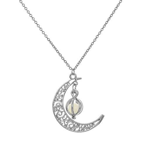 TINGSU Glow in the Dark Luminous Halskette Mond & Kürbis Anhänger versilbert Schmuck (grünes Licht)