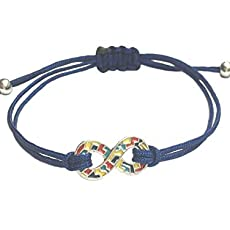 By Butler /& Grace Ladies alloy jigsaw puzzle piece connector with nylon cord Autism awareness bracelet