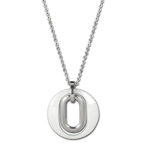 Amello bijoux en acier inoxydable - Amello collier en céramique magie blanc - collier en acier inoxydable pour femmes - ESKX03W