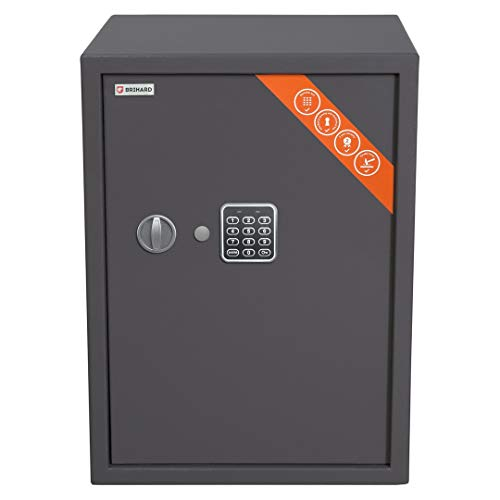 Brihard Business Caja fuerte Electrónica, 53x39x38cm HxWxD, Gris Titanio