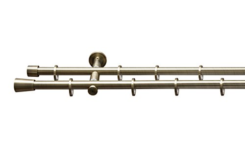 Tringle à rideau de diamètre 16mm « cylindre »-2couleurs disponibles-Avec anneaux, barre, accessoires, Messing Antik, 350 cm