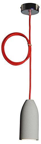 "Pendelleuchte (Betonlampe), Textilkabel\""Rot\"" (19 Farben wählbar), 7,5 x 16 cm, incl. LED (Dimmbar), Esszimmer-Lampe Buchenbusch urban design"